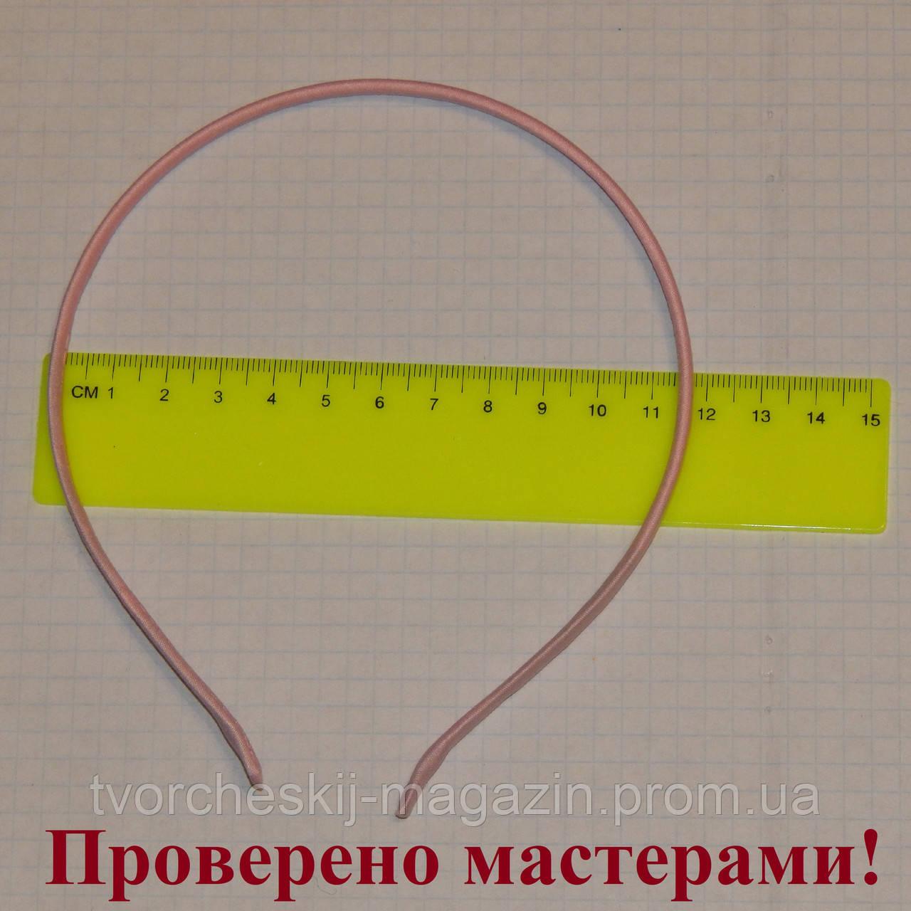 Ободок металлический в ткани 5 мм розовый