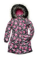 Пальто зимнее для девочки с принтом розы