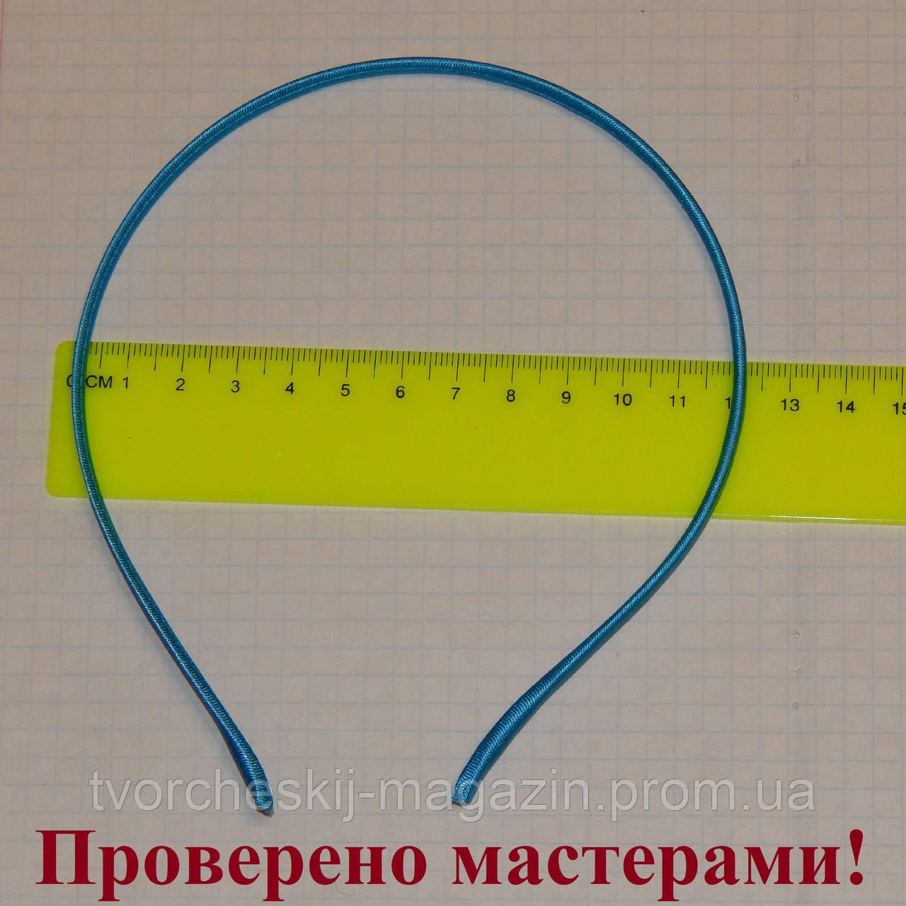 Ободок металлический в ткани 5 мм синий