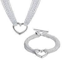 """Комплект в стиле Tiffany """"Драгоценные нити с сердцем"""""""