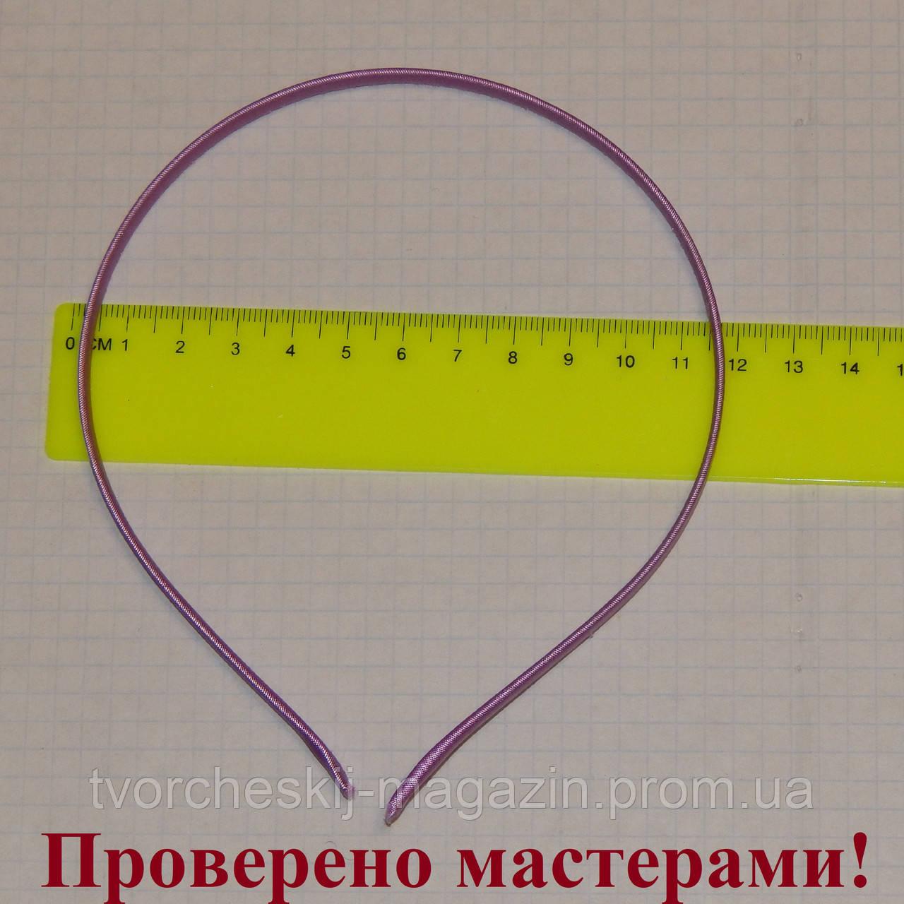 Ободок металлический в ткани 5 мм фиолетовый