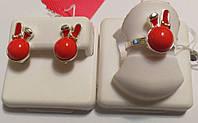 Детский комплект из серебра с кораллом Зайчик