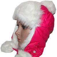 Шапка детская для девочки с балабоном на меху стразы бант (зима)