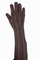 Женские перчатки стрейч  длинные+митенка Коричневые