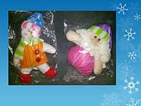 "Подвеска ""Снеговик, Санта Клаус"" h= 9 см, из ткани"