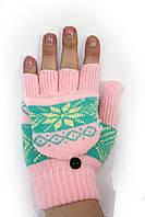 Трикотажные перчатки вязаные 5576-2 розовый Митенка с варежкой