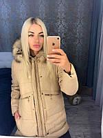 Еврозима стеганая куртка женская на молнии с натуральным мехом на капюшоне, копия Moncler