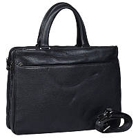 Мужская кожаная сумка-портфель для ноутбука черная High Touch HT005128-11
