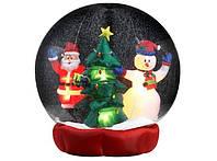 Новогодняя Надувная Фигура Снежный Шар Дед Мороз Снеговик Елка 120 см для Атмосферы Нового Года Рождества