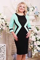Женское приталенное платье Секрет рукав 3/4 размер 52-62 / большие размеры, цвет черный + мята