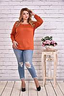 Женская блуза с вышивкой 0619 / размер 42-74 цвет терракот