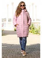 Женская стильная куртка большого размера Моника размер 48-72 цвет пудра