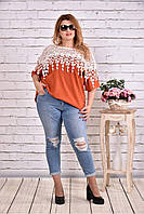 Женская блуза макраме 0608 / размер 42-74 цвет терракот
