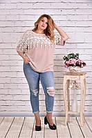 Женская блуза макраме 0608 / размер 42-74 цвет бежевый
