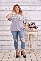 Женская блуза макраме 0608 / размер 42-74 цвет серый