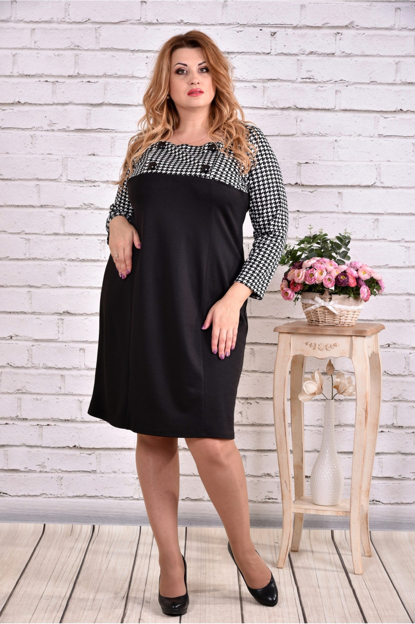 1ca2c7b62cd936d Женское прямое платье рукав 3/4 0607 цвет черный / размер 42-74 ...