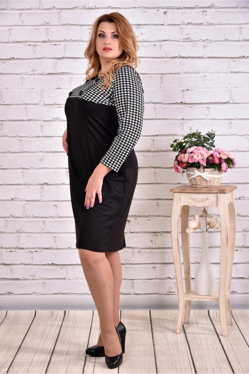 3632718ce65f021 Женское прямое платье рукав 3/4 0607 цвет черный / размер 42-74 /  батальное, цена 525 грн., купить в Днепре — Prom.ua (ID#605486313)