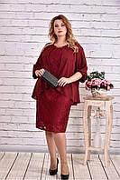Женское платье миди с гипюром 0605 цвет бордо / размер 42-74 / большой размер