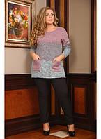 Женская теплая туника Оттенок / размер 48-72 цвет розовый
