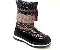 Сапоги-дутики зимние подростковые для девочки черные с орнаментом KF0491