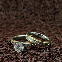 """Парные кольца из нержавеющей медицинской стали """"Love is..."""" [жен. 16.5 17.3 18.2 19.0 муж. 16.5 17.3 18.2 размеры в наличии]"""