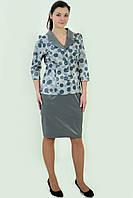 Костюм женский жакет и юбка, Кос 013,48-54, юбка по колено, хлопок, вискоза , нарядный , цвет серый стальной.