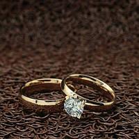 """Парные кольца с большим кристаллом """"Обручальные"""" [жен. 15.9 17.3 18.2 муж. 16.5 17.3 18.2 19.0 20.0 размеры в наличии]"""