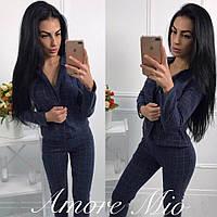 Женский модный теплый костюм в клетку: пиджак и брюки (2 цвета) синий, M