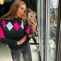 """Женский красивый свитер """"Ромб"""" (4 цвета) беж, 42-46"""