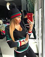 Женская стильная шапка с меховым бубоном (3 цвета)