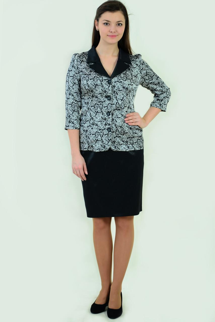 Костюм женский жакет и юбка, Кос 013-1,48-56, юбка по колено, нарядный ,жакет серый,юбка черная.