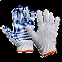 Перчатки Полиэстер с ПВХ, 5 нитей белые