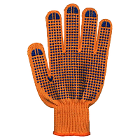 Перчатки Полиэстер с ПВХ, 5 нитей оранжевые