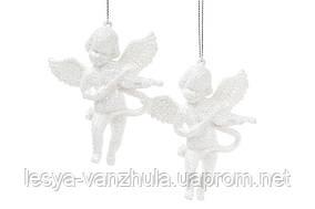 Набор елочных украшений 2 шт Ангелы, 4 дизайна, цвет - белый глитер