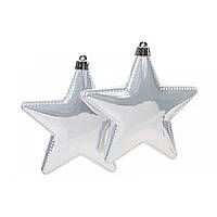 Набор елочных украшений Звезда, 2 шт,  цвет - белый глитер