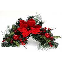 Новогодний декор из искусственной хвои с пуансеттией и ягодами, 60см