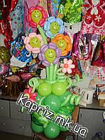 Вазон с цветами- смайликами из шаров