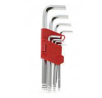 INTERTOOL Набор Г-образных шестигранных ключей с шарообразным наконечником 9 ед Cr-V 55 HRC Big INTERTOOL HT-0603