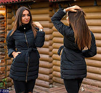 Женская приталенная зимняя куртка на холофайбере с меховым воротником стойка черного цвета. Арт - 18386