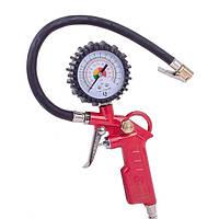 INTERTOOL Пистолет для подкачки колес с манометром 63 мм пневматический INTERTOOL PT-0503