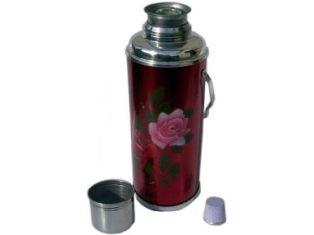 """Металевий Термос зі скляною колбою """"Троянда"""" 1.2 л, 12314"""