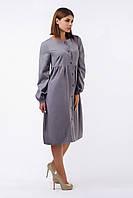 Модное платье-бочка из тонкой серой шерсти