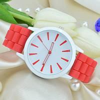 Часы женские силиконовые (женева) Geneva красные, фото 1