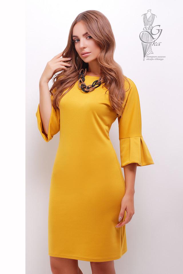 Цвет горчица Женского элегантного платья Тамара