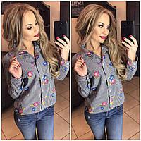 Женская рубашка в полоску с цветочным принтом, фото 1