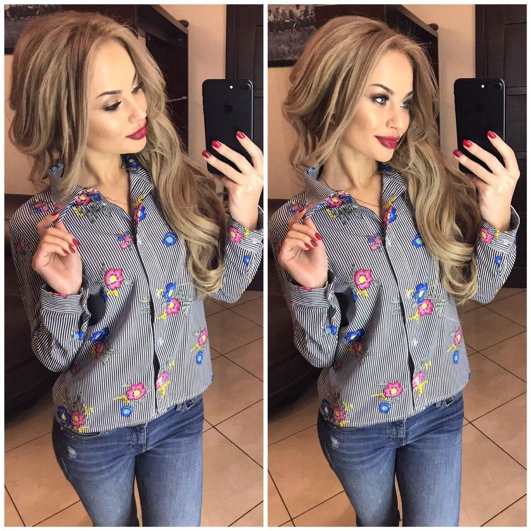 f8c524137ce Женская рубашка в полоску с цветочным принтом - купить по лучшей ...