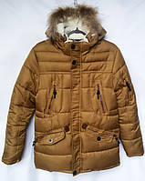 Куртка зимняя подростковаяс мехомдля мальчика 12-16лет,горчичная
