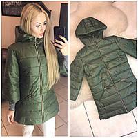 Женская длинная стеганная зимняя куртка с рукавами 3/4, фото 1