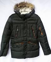 Куртка зимняя подростковаяс мехомдля мальчика 12-16лет,темно зеленая