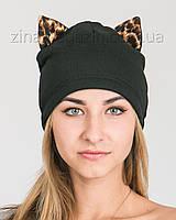 Шапка с леопардовыми кошачьими ушками